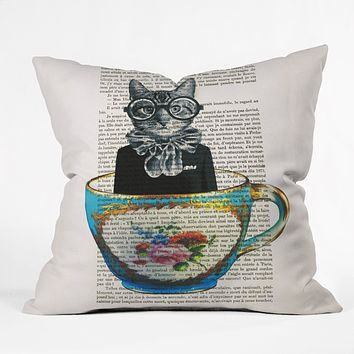 Coco de Paris Cat In A Cup Throw Pillow