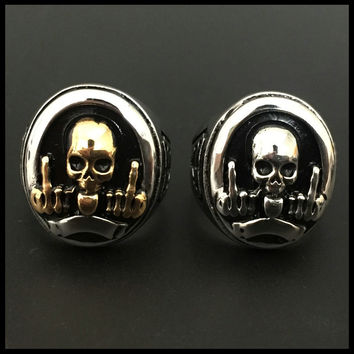 Skull Flipping The Bird - GFY Ring