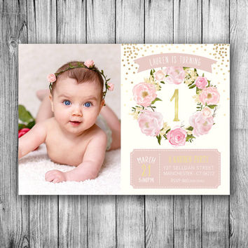Garden Birthday Photo Invitation First Girls Picture Floral Pink Pastel Beige Off White Gold Dots