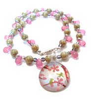 SALE Was 25.00 NOW 20.00 Pink Necklace, Bird Motif
