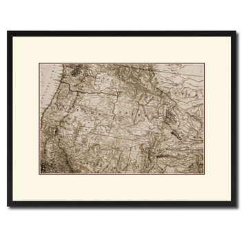 Us Pacific Northwest Vintage Sepia Map Canvas Print, Picture Frame Gifts Home Decor Wall Art Decoration