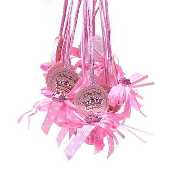 """Baby Pacifier """"Don't Say Baby"""" Crown Favor Necklace, Pink, 24-Count"""