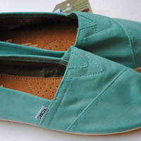 Custom Hand Painted TOMS in Teal Blue by PaperHeartsCouncil