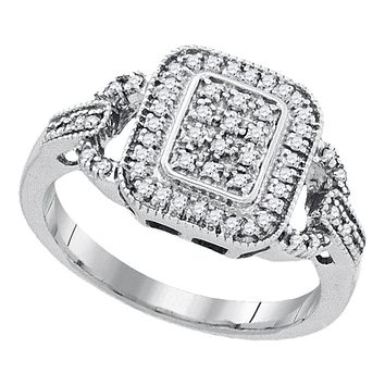 Sterling Silver Women's Round Diamond Rectangle Frame Cluster Ring 1/4 Cttw - FREE Shipping (US/CAN)