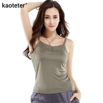 100% Pure Silk Women's Camis Femme Lace Sling Tops Women Casual Sleeveless Bottoming Female Camisole Ladies Halter Tops Woman