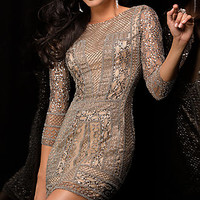 Short Sequin Dress with Three Quarter Sleeves by Scala