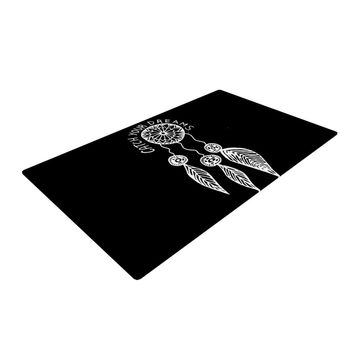 "Vasare Nar ""Catch Your Dreams Black"" White Typography Woven Area Rug"