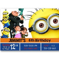 Despicable Me Minion and Friends Kids Birthday Invitation Party Design