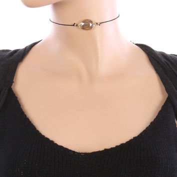 Faceted Wire Wrapped Oval Stone and Black Cord Choker