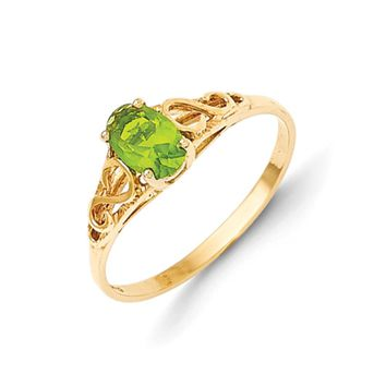 Size 5 14kt Yellow Gold Oval Synthetic Peridot Birthstone Girls Ring
