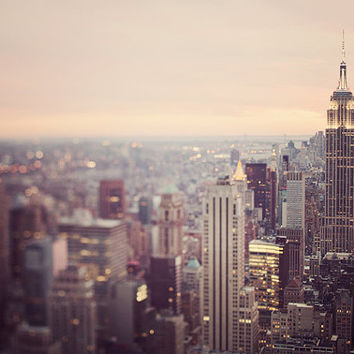 "New York Skyline Photograph, Manhattan Sunset, NYC Photography, Pastel Purple Wall Art, Empire State Building, ""On the Town"""
