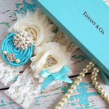 Garter / Wedding Garter / Tiffany blue Wedding Garter Set / Toss Garter / Something Blue Wedding Garter / Lace Garter