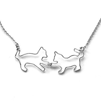 Cat Lover Gift - Cat Necklace, Pet Jewelry, Kittens Playing Pendant