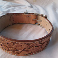 Handmade leather dog collar 9914 , floral collar , tan leather collar , double layered collar