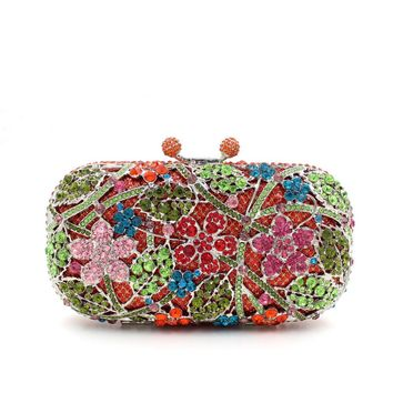 Flower Leave Rhinestone Minaudiere Metal Box Clutches For Wedding Gift
