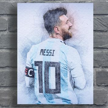 Lionel Messi Poster Abstract Canvas Prints Sports Soccer Star Leo Messi Art Picture Home Living Room Bedroom Decor Fabric Print