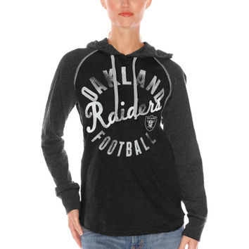 Oakland Raiders Women's Play Clock Pullover Hoodie – Black