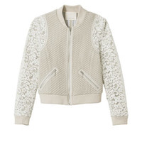 Rebecca Taylor Textured Bomber with Lace