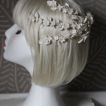 Porcelain bride tiara,bridal crown, off white crown, flowers crown in off white,porcelain flowers handmade,bridal headpiece,bridal hair comb