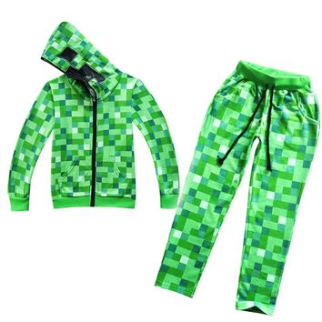 Kids Green pattern full set Pullover Cotton and trousers Sweatshirt Minecraft Pattern Children Clothes Hoodie Gift For kids