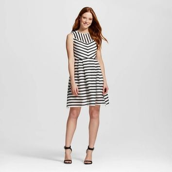 Women's Striped Mesh Scuba Fit and Flare Dress - Melonie T