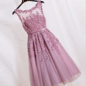 Pink Pearl Lace Homecoming Dress Free fast shipping
