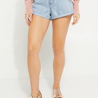 Cuffed Frayed High Waisted Shortie