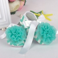 Newborn to 18 Months Soft Sole Crib Shoes Toddler Ribbon Lace Flower Baby Shoes