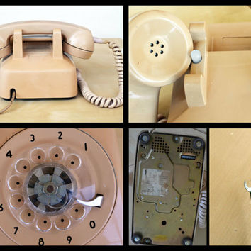 Vintage Beige Light Pink Rotary Phone Bell System Telephone , Working Home Telephone, Ring Phone, Tested Desk Phone Northern Electric Phone