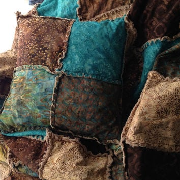 "Batik rag quilt throw in warm browns, teal, khaki and turquoise 64""x64"""