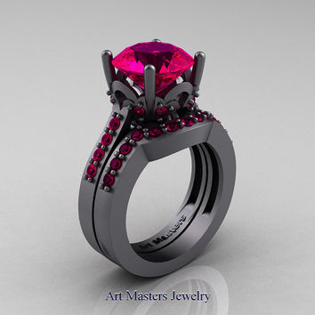 Classic 14K Grey Gold 3.0 Carat Rose Ruby Solitaire Wedding Ring Wedding Band Set R301S-14KGGRR
