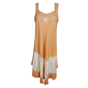 Mogul Womens Tie Dye Tank Dress Sleeveless Floral Embroidered Summer Style Sundress - Walmart.com