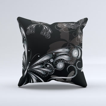 Vibrant Black & Silver Butterfly Outline ink-Fuzed Decorative Throw Pillow