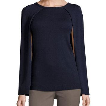 Philosophy Crewneck Capelet Sweater, Deep Storm