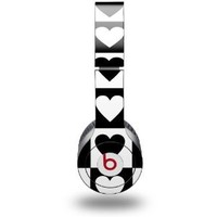 Hearts And Stars Black and White Decal Style Skin fits Beats Solo HD Headphones - (HEADPHONES NOT INCLUDED)