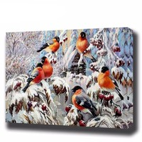 "DIY Painting by Numbers Canvas Painting Set - ""Snowy Robins"""