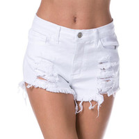 High-Waisted White Denim Shorts