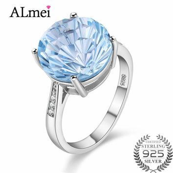 Almei Female 6.5ct Blue Topaz Natural Gemstone Aquamarine Engagement Rings Silver 925 Fine Jewelry for Women with Box 40% FJ013