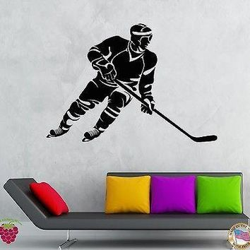 Wall Stickers Vinyl Decal Hockey Player Winter Sport Ice Decor Unique Gift (z1950)