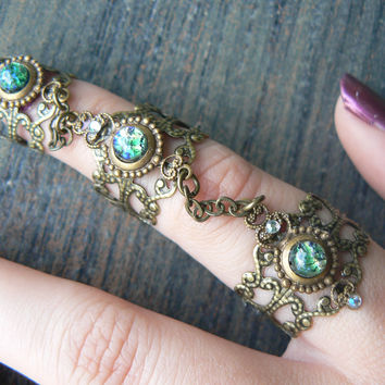 armor ring claw ring Emerald Fire Opal statement ring triple ring knuckle ring steampunk