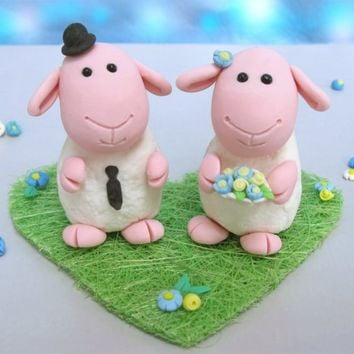 Unique cute sheeps wedding cake toppers with heart by PassionArte