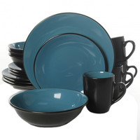 Vivendi 2 Tone 16pc Dinnerware Set Black-Turquoise