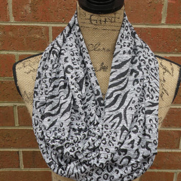 SALE 20% OFF Last One Ready To Ship New Shimmer Leopard Fabric Sweater Knit Infinity Circle Tube Scarf Animal Print White Black F102