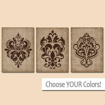 DAMASK Wall Art, CANVAS or Prints, French Country Decor, Brown Bedroom Pictures, Beige Bathroom Decor, Home Decor, Set of 3 Kitchen Art