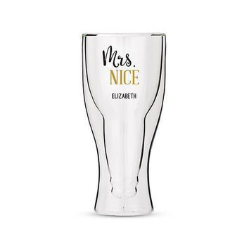Personalized Double Walled Beer Glass Mrs. Nice Print (Pack of 1)