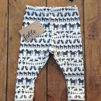 Hand Printed Organic Cotton Leggings  Navy Animals on by fablebaby
