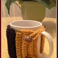 Pittsburgh Steelers Football button Crochet Mug Cozy