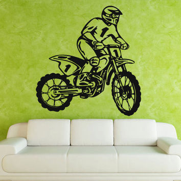Wall decal art decor decals sticker bedroom design mural tribal dirt bike moto motorcycle race rally GP (m823)