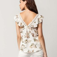 BLU PEPPER Floral Crochet Womens Top | Blouses