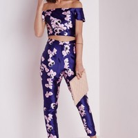 Missguided - Peonie Print Cigarette Pants Navy